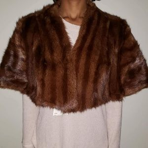 Brown 70s Muskrat Fur Shawl